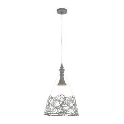 nowoczesna lampa wisząca do kuchni szary klosz