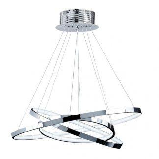 nowoczesna lampa wisząca LED srebrne ringi