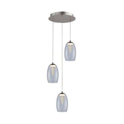 nowoczesna lampa wisząca na 3 żarówki na okrągłej podstawie