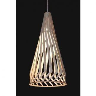 nowoczesna lampa wisząca z drewnianym kloszem