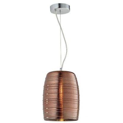 nowoczesna lampa wisząca z miedzianym kloszem