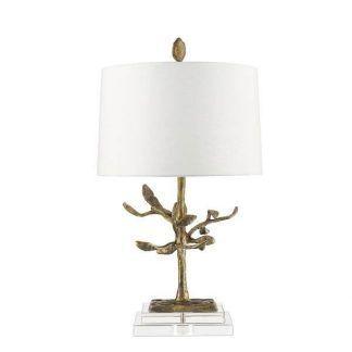Nowoczesna lampa ze złotą podstawą i białym abażurem