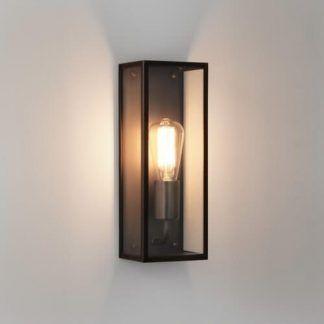 nowoczesna retro lampa ścienna - kinkiet kwadratowy szklany