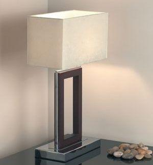 nowoczesna stalowa lampa stołowa z prostokątnym abażurem