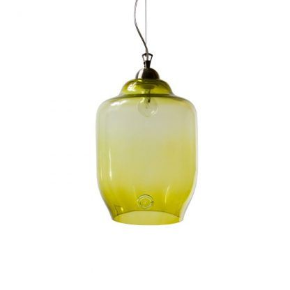 nowoczesna szklana lampa wisząca lekko oliwkowa