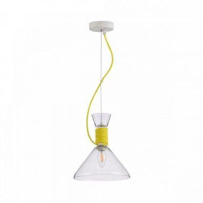 nowoczesna transparentna lampa wiszaca z zółtym kablem