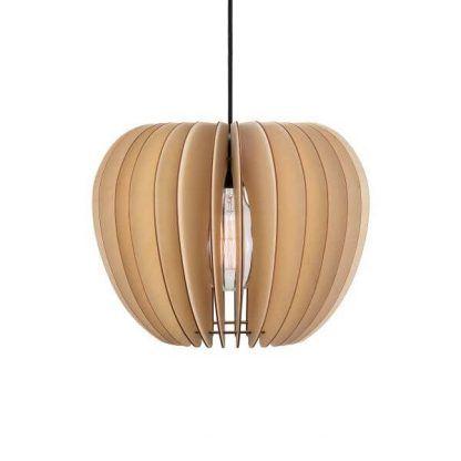 Nowoczesna wisząca lampa z drewnianym kloszem