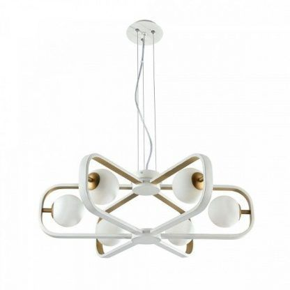 nowoczesna wisząca lampa - żyrandol z kulami białymi