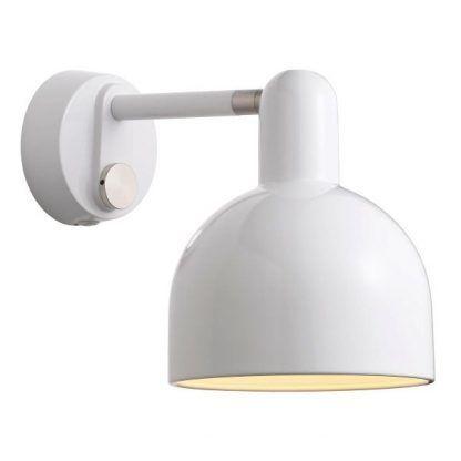 nowoczesny biały kinkiecik do oświetlenia komody lub stoły w salonie