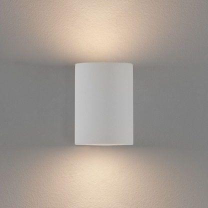 nowoczesny biały kinkiet w kształcie tuby - biały do sypialni