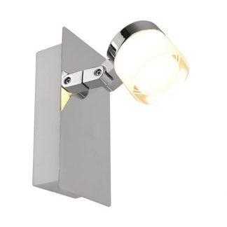 nowoczesny chromowany reflektorek do łazienki - szklany