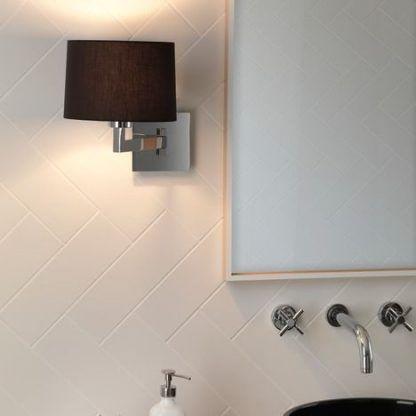 nowoczesny kinkiet do łazienki - srebrny z czarnym abażurem