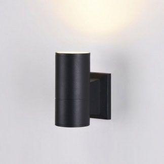 nowoczesny kinkiet wewnętrzny - czarna tuba świecąca w góre