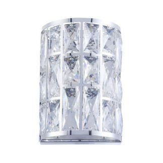nowoczesny kryształowy kinkiet do sypialni