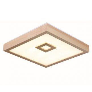 nowoczesny plafon z drewnianym obiciem - led do łazienki