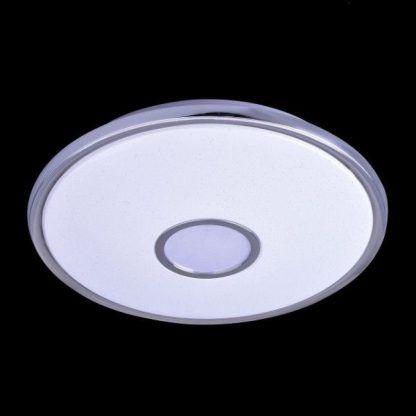 nowoczesny płaski plafon do łazienki - okragły biały