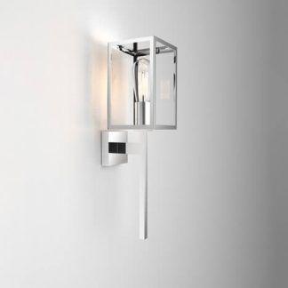 nowoczesny prostokątny kinkiet - sześcian szklany z ramą srebrną