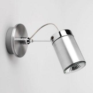 nowoczesny reflektor na ścianę z regulacją - srebrny kinkiet