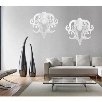 nowoczesny salon oświetlenie z kryształkami aranżacja