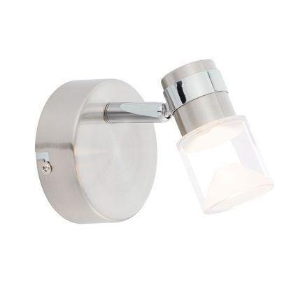 nowoczesny srebrny kinkiet do łazienki