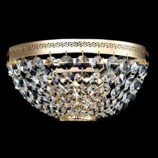 Nowoczesny złoty plafon wykończony kryształkami