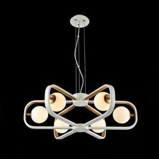 nowoczesny żyrandol do niedużego salonu - białe kule