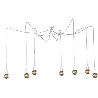 nowoczesny żyrandol pająk do salonu na 7 żarówek - białe kable