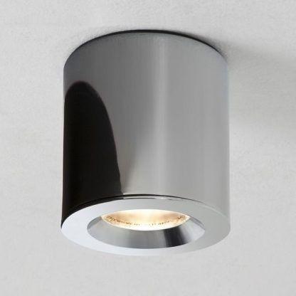 oczko sufitowe tuba - srebrne nowoczesne do salonu