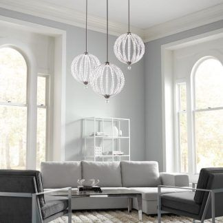 okrągła lampa do salonu z kryształkami aranż