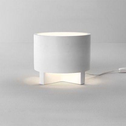 okrągła lampa stołowa z gipsu do salonu