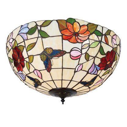 okrągła lampa sufitowa witrażowy klosz w kwiaty