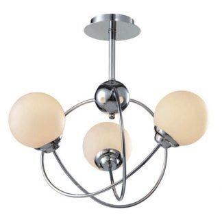 okrągła lampa sufitowa z kloszami z białego szkła