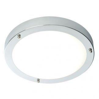 okrągła lampa sufitowa z mlecznym kloszem