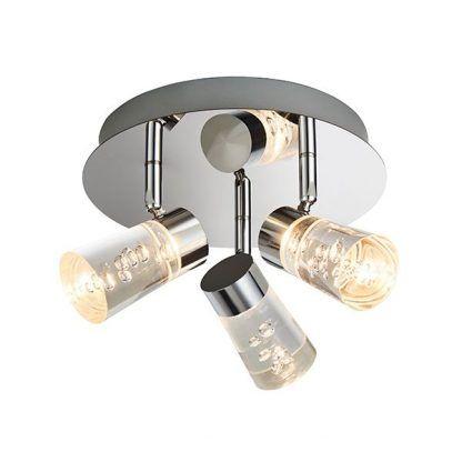 okragła lampa sufitowa z reflektorami - 3 żarówki szklane