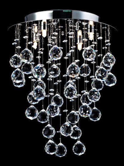 okrągła lampa sufitowa z wiszacymi szklanymi kulami - led