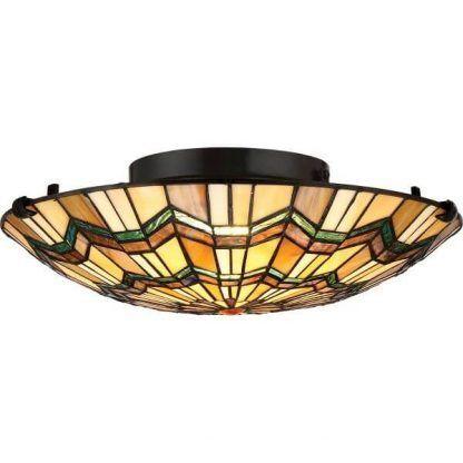 Okrągła lampa sufitowa z witrażem do salonu