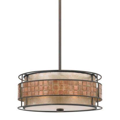 Okrągła lampa w metalowej oprawie z mozaiką salon