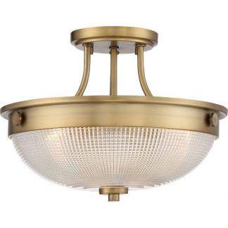 Okrągła lampa w złotej oprawie ze szklanym kloszem