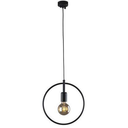 okrągła lampa wisząca do sypialni czarna metalowa