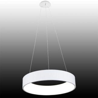 okrągła lampa wisząca led szeroki ring biała