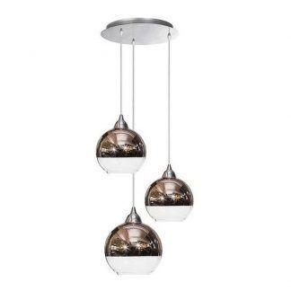 okrągła lampa wisząca szklane klosze miedź