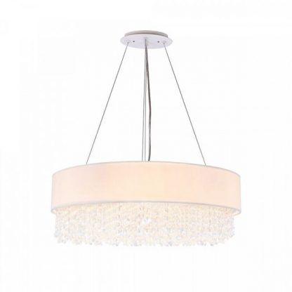 Okrągła lampa wisząca z abażurem i kryształkami do salonu