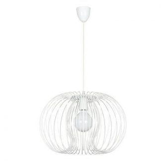 okrągła lampa wisząca z białych prętów
