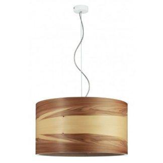 okrągła lampa wisząca z drewnianej płyty