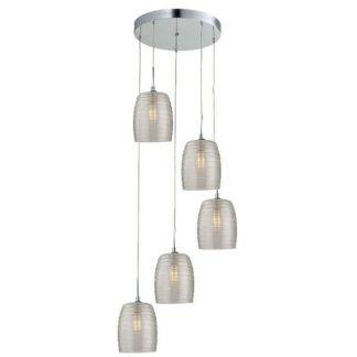 okrągła lampa wisząca ze szklanymi kloszami kaskada