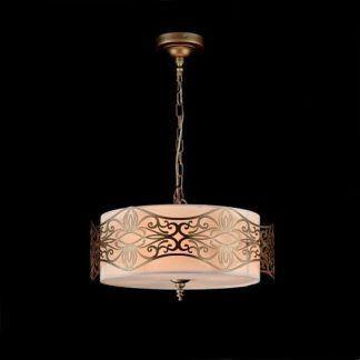 okrągła lampa wisząca ze złotymi zdobieniami