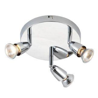 Okrągła srebrna lampa z trzema punktami światła
