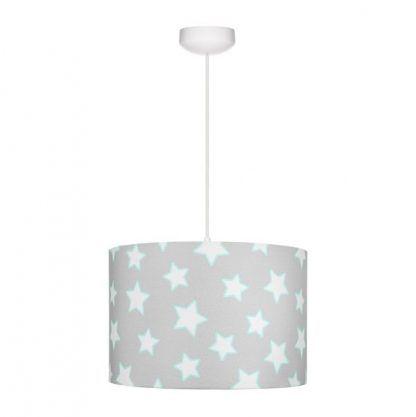 Okrągła szara lampa z abażurem z białe gwiazdki