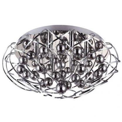 okrągły chromowany plafon do salonu