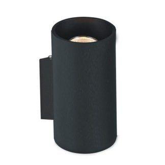 Okrągły czarny kinkiet tuba do sypialni